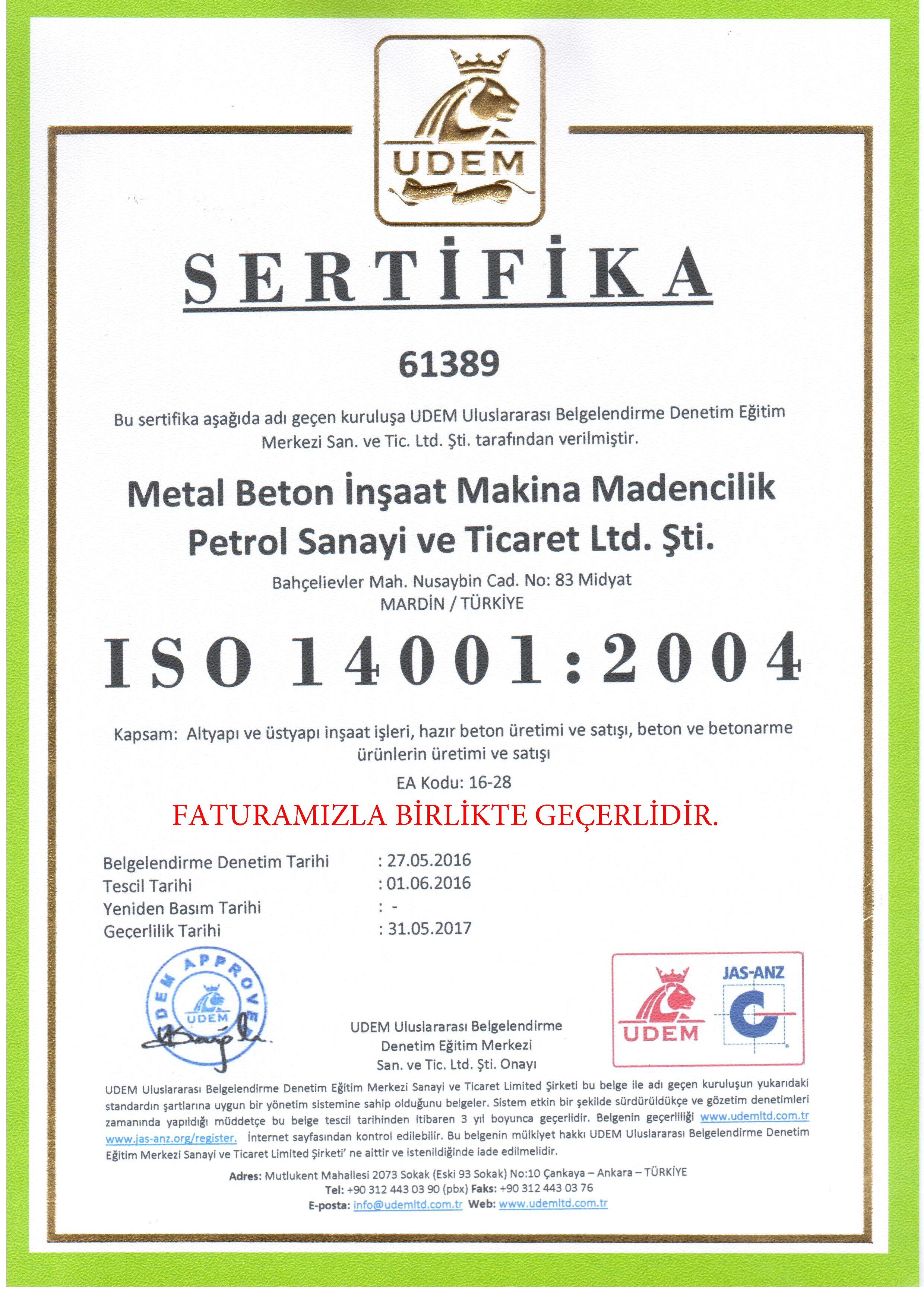 ISO-14001-2004- SERTİFİKA