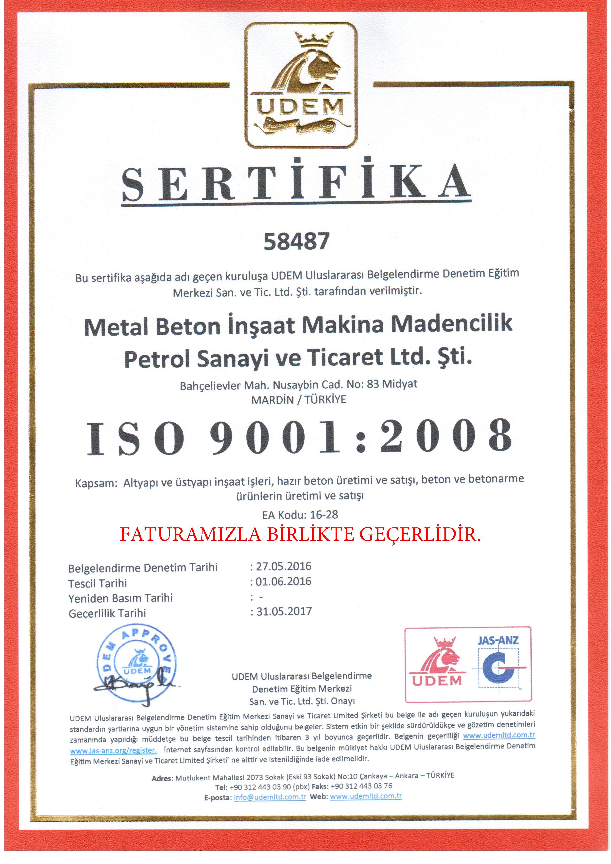 ISO-9001-2008 SERTİFİKA